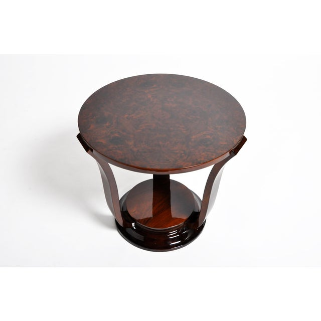Hungarian Walnut Veneer Round Side Tables - a Pair For Sale In Chicago - Image 6 of 13