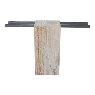 Italian Travertine and Glass Top Console Table