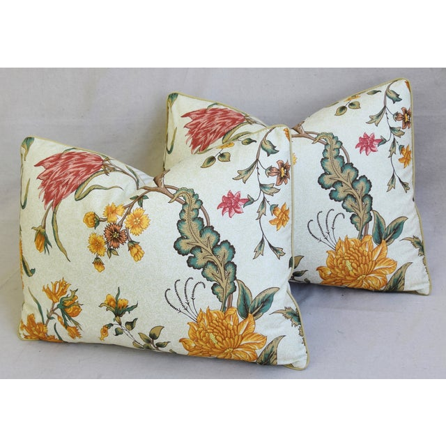 """Leather Schumacher Arbre Fleuri Floral & Ticking Feather/Down Pillows 22"""" X 16"""" - Pair For Sale - Image 7 of 13"""
