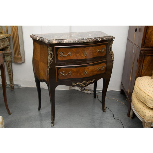 Mid 20th Century Louis XV Style Two-Drawer Commode With Varigated Marble Top For Sale - Image 5 of 13