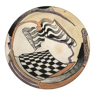 Late 20th Century Vintage Abstract Hand-Painted Ceramic Platter For Sale