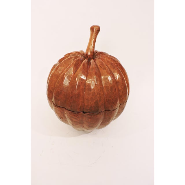 Indonesian Carved Teakwood Pumpkin with Lid For Sale In San Francisco - Image 6 of 6