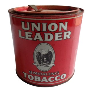 Antique Union Leader Smoking Tobacco Large Tin With Tax Stamp For Sale
