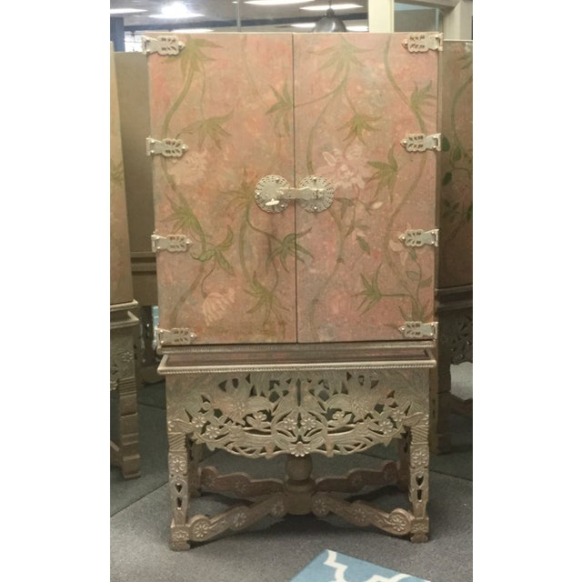 Asian Style Floral Carved Frame Armoire Chest Wardrobe For Sale - Image 4 of 8