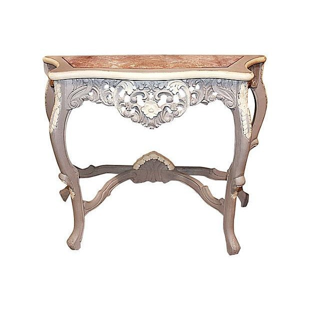 Carved Rocco-Style Marble-Top Console - Image 2 of 5