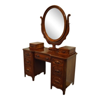 Vintage Davis Cabinet Co. Lillian Russell Collectors Cherry Vanity with Mirror For Sale