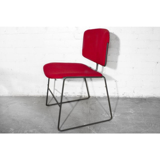 Vintage Steelcase Modern Stackable Chair, Refinished in Red Micro Linen For Sale In Los Angeles - Image 6 of 6