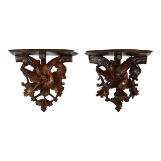 Pair of 19th C Black Forest Bracket Shelves For Sale