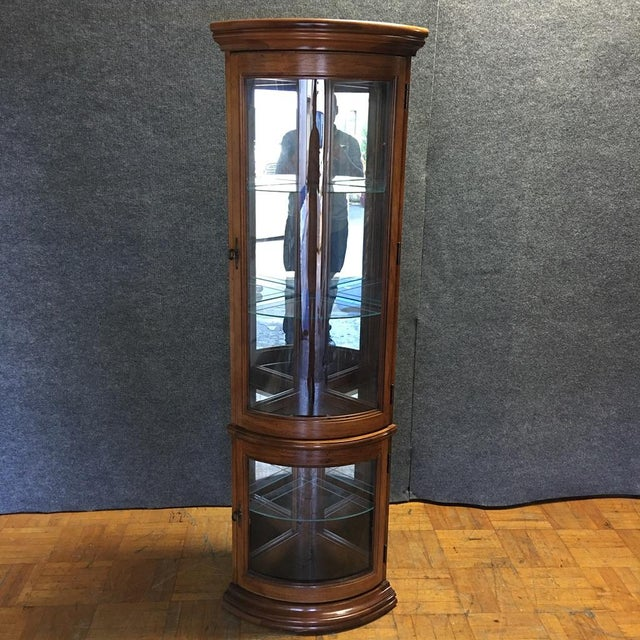 Solid Wood Corner Curio Cabinet With Glass Doors - Image 3 of 10