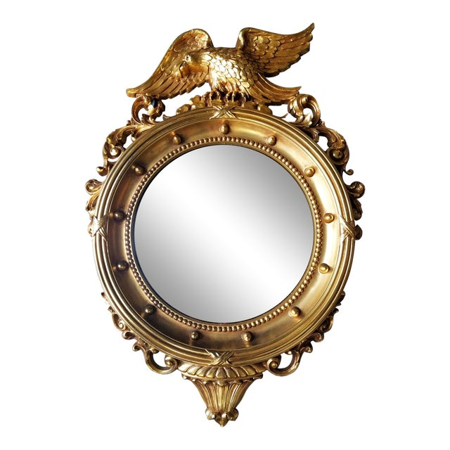 Federal Eagle Gilded Convex Mirror For Sale
