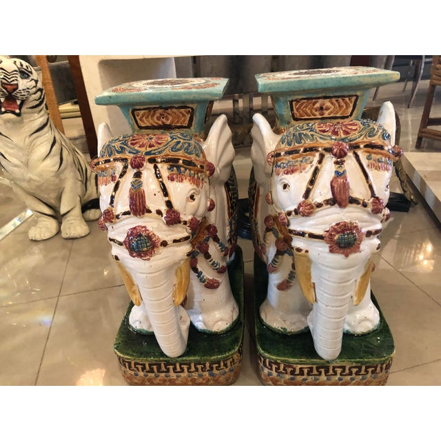 Blue Vintage Hollywood Regency Garden Stools Stands Side Tables Elephants - A Pair For Sale - Image 8 of 13
