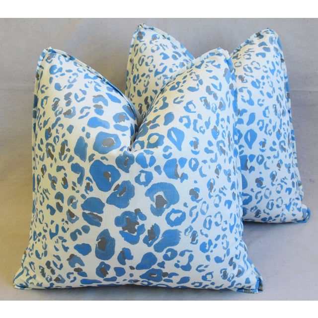 """Pindler & Pindler Leopard Animal Spot & Velvet Feather/Down Pillows 20"""" Square - Pair For Sale - Image 13 of 13"""