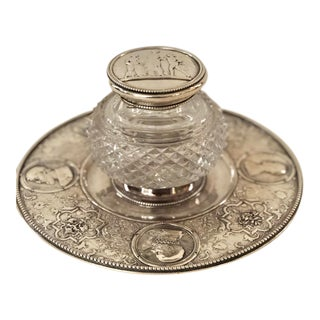 Early 20th C Ellington Cut Glass and Silverplate Inkwell For Sale