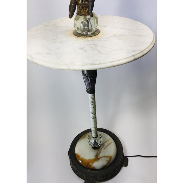 Metal Vintage Marble and Agate Figural Putti Floor Lamp For Sale - Image 7 of 13