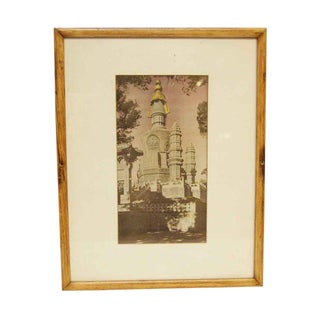 Cream & Pink Framed Picture of a Church For Sale