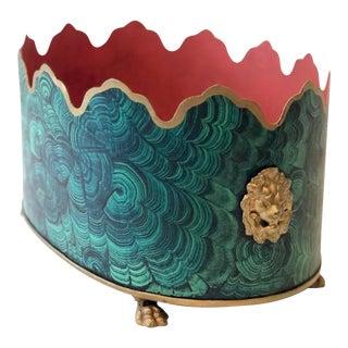 Regency Style Faux Malachite Tole Planter Box - Vintage For Sale