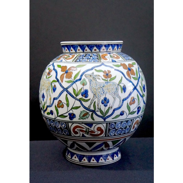 Exquisite example of the mid- 20th century Greek potters village Halandri, in the style of Turkish and Persian Iznik art...