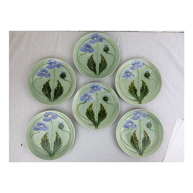 Majolica Green Flower Plates - Set of 6 - Image 2 of 3