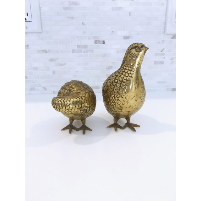 Mid-Century Japanese Brass Quails - A Pair - Image 5 of 6