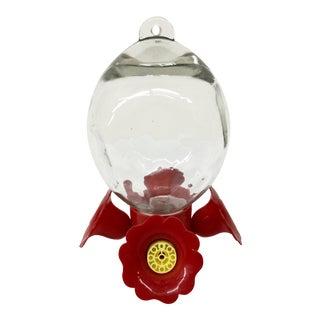 Vintage Glass Hummingbird Feeder