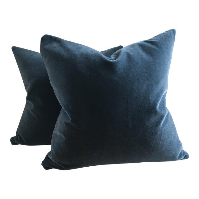 Hague Blue Mohair Velvet Pillows - a Pair For Sale