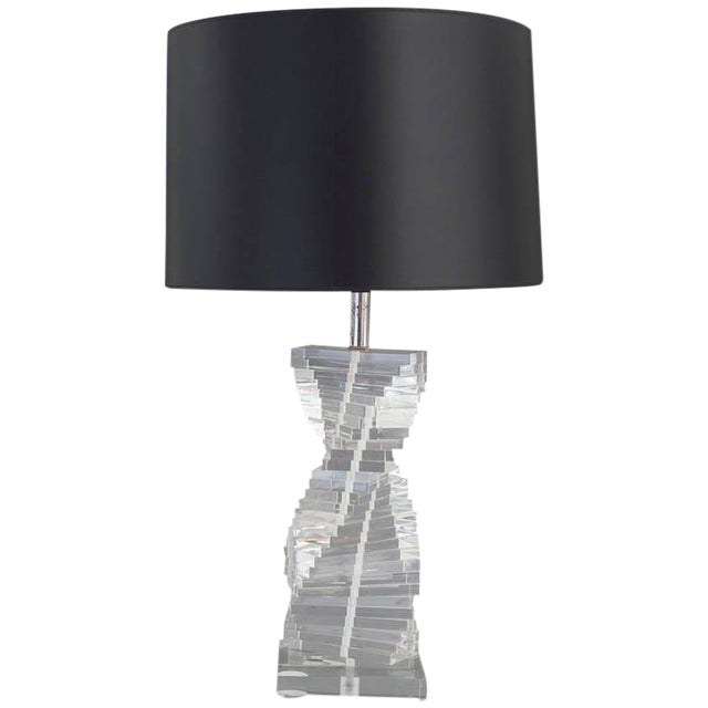 Manner of Karl Springer Helix Lucite Table Lamp - Image 1 of 4
