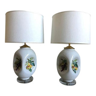 1950s Italian Majolica Lamps & Shades - a Pair For Sale