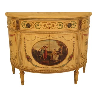 Adams Style Paint Demilune Commode