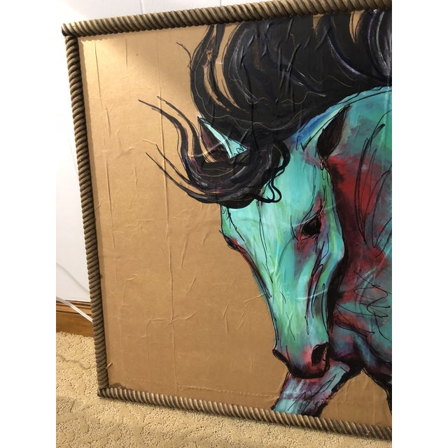 This is self-taught art by a Texas artist. Mixed medium. It is a really nice example of a horse in movement. It is painted...