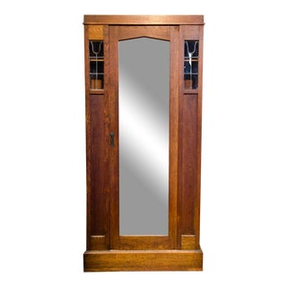 1950's Arts and Crafts Oak Armoire Wardrobe For Sale
