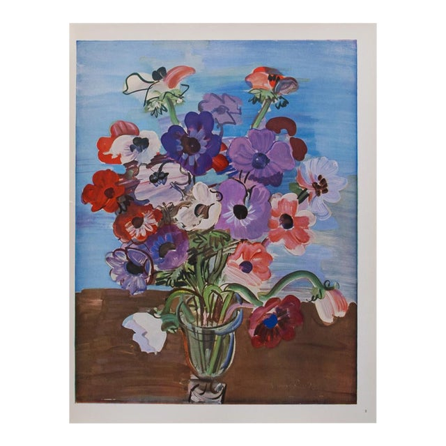 1940s Raoul Dufy Bouquet Original Period Swiss Lithograph For Sale
