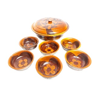 Hand Carved Floral Rosewood Bowls From Curaco - 8 Piece Set For Sale