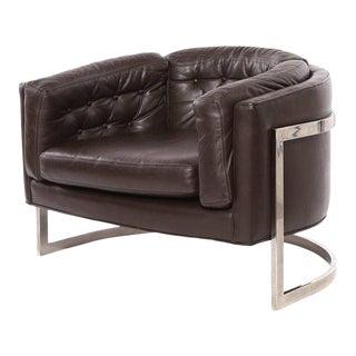 1970s Vintage Jules Heumann for Metropolitan Leather Barrel Chair For Sale