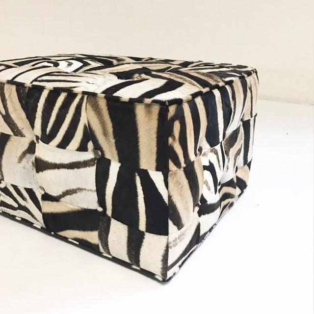 Animal Skin Forsyth One of a Kind Patchwork Zebra Hide Ottoman For Sale - Image 7 of 8