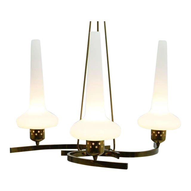 Glass & Brass Chandelier, Italy 1950`s For Sale