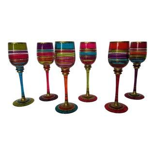 Festive Stripe Long Stemmed Cordial Glasses - Set of 6 For Sale