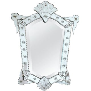 French 1940s Venetian Style Mirror Beveling and Star Etching For Sale