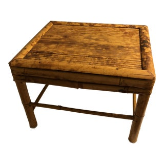 Vintage Mid 20th Century Tortoise Bamboo Plant Stand and Riser For Sale