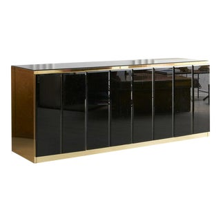 Black Mirrored and Brass Credenza by Ello For Sale