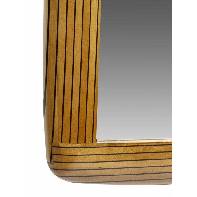 Two Tone Ebony Striped Wall Mirror - Image 3 of 8