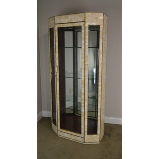 Maitland Smith Tessellated Stone Marble & Brass Curio Display Cabinet Preview
