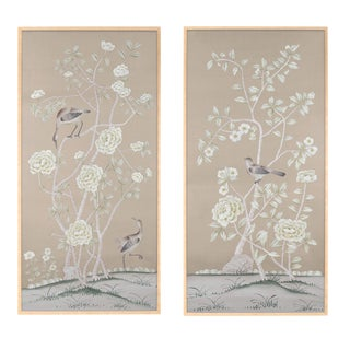 "Chinoiserie ""Donnington"" Diptych Painting on Silk by Simon Paul Scott for Jardins en Fleur - 2 Pieces For Sale"