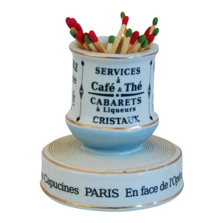 Parisian Cafe Bar French Porcelain Match Striker & Holder