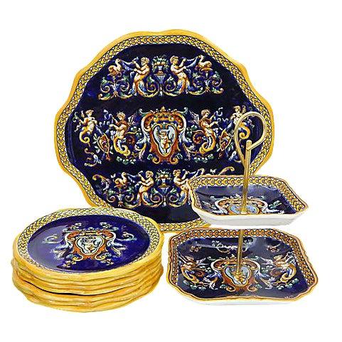 Gien French Renaissance Serving Set - 10 Pieces For Sale