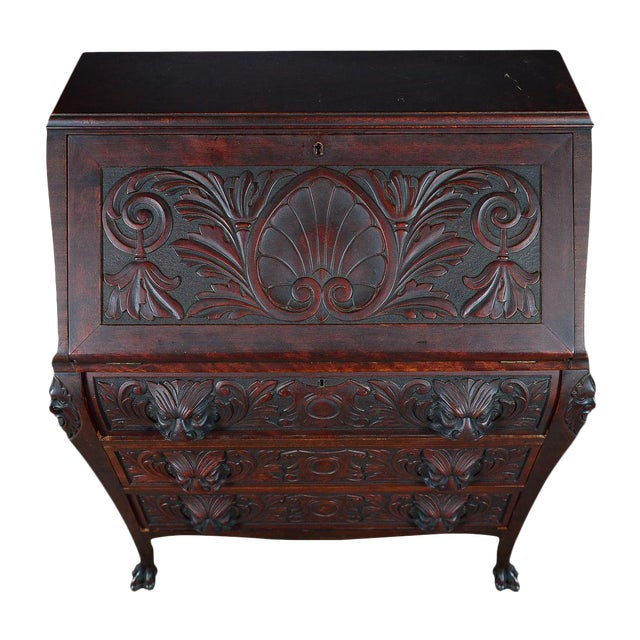 R. J. Horner C.1890's Carved Mahogany Drop Desk For Sale