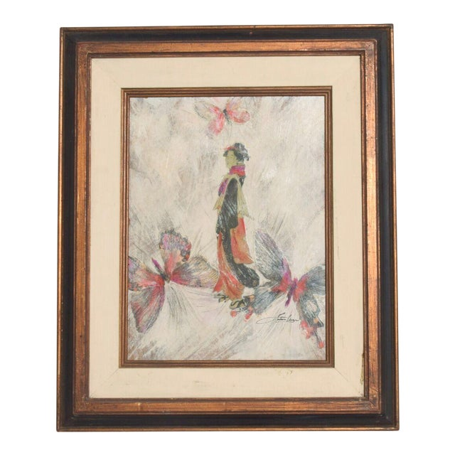 Mixed Media Art, Japanese Woman Pink Butterflies, Signed Painting For Sale