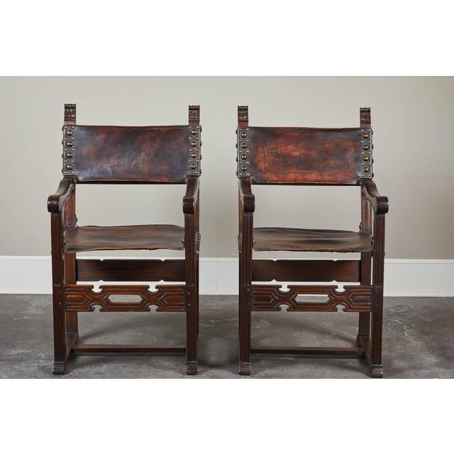20th C. South American Armchairs W/ Leather Seat & Back - a Pair For Sale - Image 9 of 12
