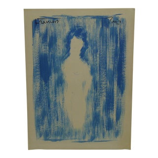 "Original French Painting on Paper ""Frontal Nude Woman"" by Francois, 1970"