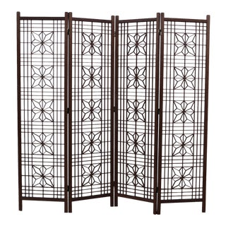 1970's Modern Teak Folding Screen For Sale