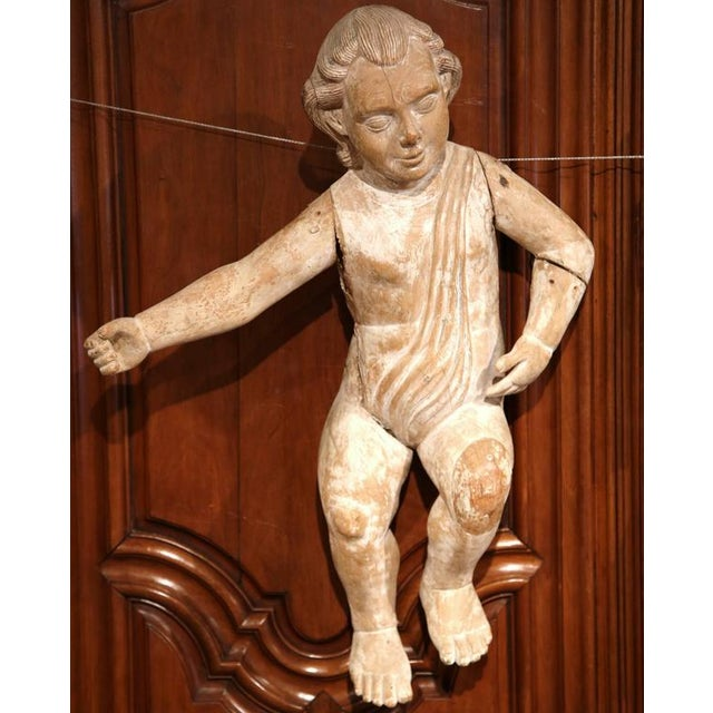 Wood Mid-18th Century Italian Hand-Carved White Wash Cherubs - A Pair For Sale - Image 7 of 10